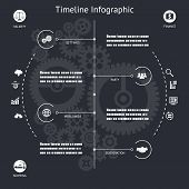 pic of barge  - Timeline Infographics Elements symbols and Icons Vintage Retro Style Design Template on Stylish Abstract Gears Background Vector Illustration - JPG