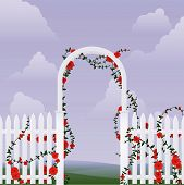 stock photo of red rose flower  - Simple arbor with climbing roses against a sky - JPG