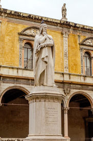 picture of alighieri  - Monument for Dante Alighieri at the Piazza dei Signori in Verona Italy - JPG