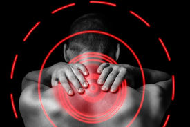 pic of red-necked  - Unrecognizable man touches neck pain in the neck rear view pain area of red color - JPG