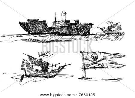 Esboço de piratas no mar