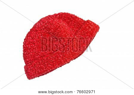 red woolen knit hat