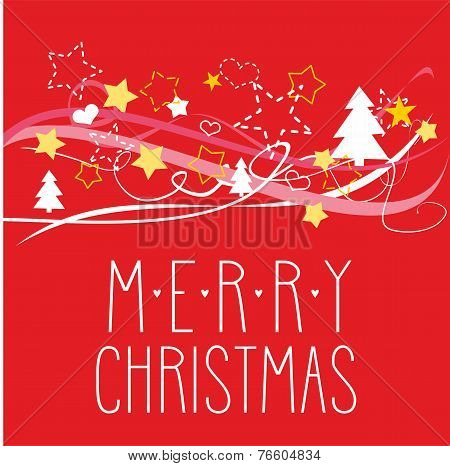 Holidays vector card or invitation for party with Merry Christmas wishes
