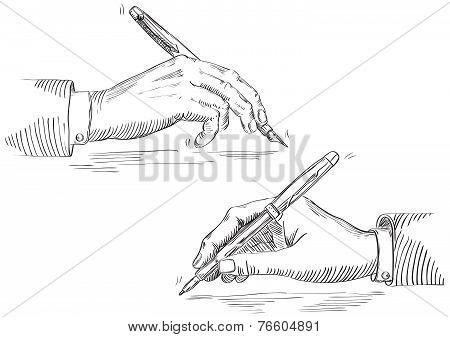 Writing hand of businessman