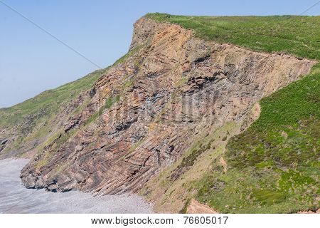 Chevron Folding In Geological Strata At Millook Haven Near Crackington Haven In Cornwall.  Part Of T