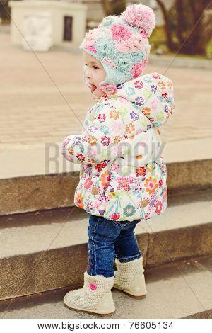 Baby Girl Near Staircase