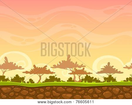 Seamless cartoon savanna landscape