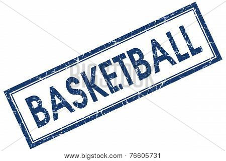 Basketball Blue Square Stamp Isolated On White Background