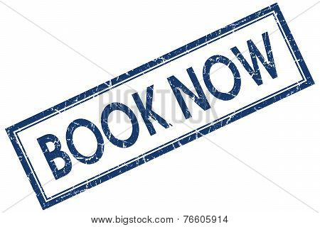 Book Now Blue Square Stamp Isolated On White Background