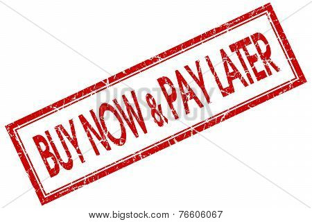 Buy Now Pay Later Red Square Stamp Isolated On White Background