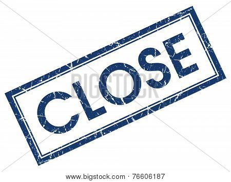 Close Blue Square Stamp Isolated On White Background