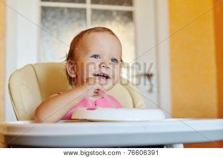 Laughing Eating Baby