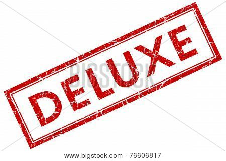 Deluxe Red Square Stamp Isolated On White Background