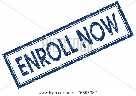 Enroll Now Blue Square Stamp Isolated On White Background