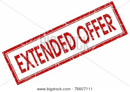 Extended Offer Red Square Stamp Isolated On White Background