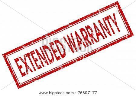 Extended Warranty Red Square Stamp Isolated On White Background