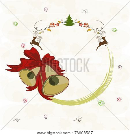 Merry Christmas celebrations greeting card design decorated with jingle bells, reindeer, X-mas tree and free space for your message on stylish background.