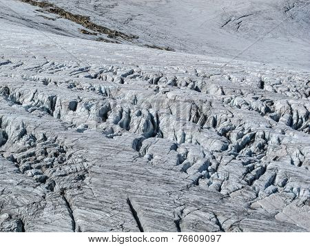 Crevasses in a alpine glacier
