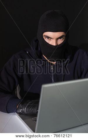 Burglar sitting hacking laptop while looking at camera on blakc background