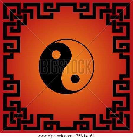 Asian red and black Yin Yang design