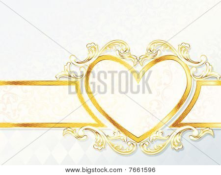 Horizontal rococo wedding banner with heart emblem