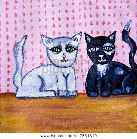Cute Cats Folk Art