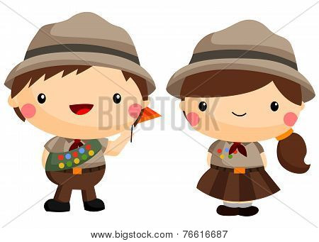 Boy And Girl Scout white background