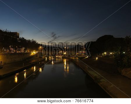 River Tiber At Night