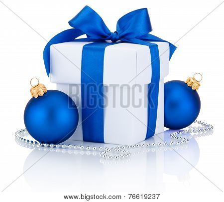 White Box Tied Blue Ribbon Bow And Two Christmas Balls Isolated On White Background