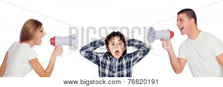 Frightened child due to parental orders deafening isolated on white