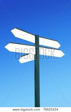 Direction Signpost With Blank Direction Arrows