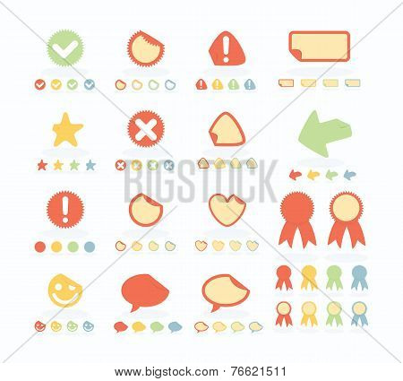 Flat Style Stickers Set