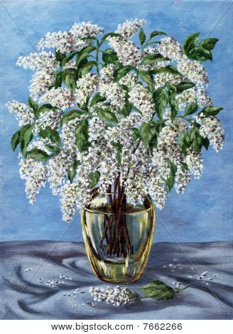 Bird Cherry In A Glass Vase
