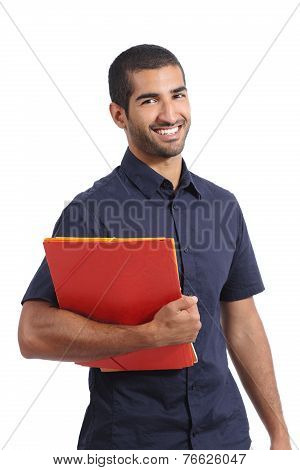 Adult Casual Arab Man Student Posing Standing Holding Folders