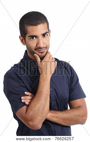 Arab Handsome Man Posing While Looking At Camera