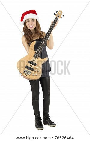 Christmas Female Bass Guitarist Showing Bass Guitar
