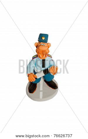 Statuette of policeman top view