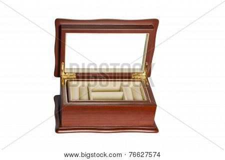 Wooden open casket