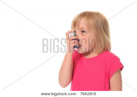 Young Little Girl Using Inhaler