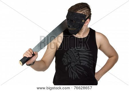 Photo of the young man in mask with hatchet
