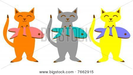 Cats With Fish Set