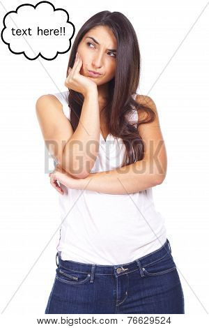 Portrait Of Beautiful Young Woman Wondering About The Copyspace With Surprised Look On White