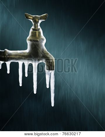 Icicles On The Water Tap