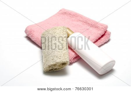 Liquid Soap Loofah And Towel