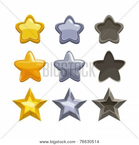 Set of gold, silver and non-active cartoon stars