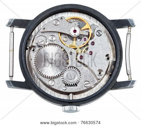 Mechanic Clockwork Of Old Wristwatch Isolated