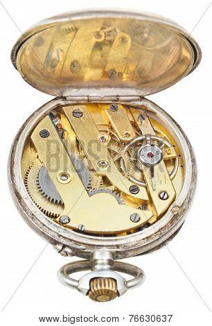 Brass Clockwork Of Vintage Silver Pocket Watch
