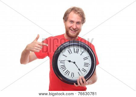 Bearded Happy Man Holding Big Clock And Smiling