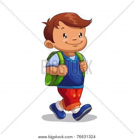 Cute cartoon boy goes to school