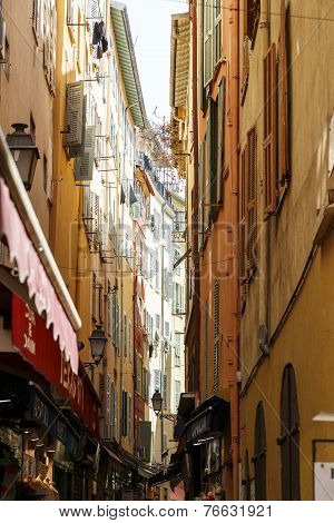 Narrow Street In The Old Town Of Nice